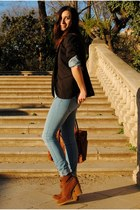 denim Pull & Bear jeans - brown Pull & Bear boots - brown Stradivarius blazer