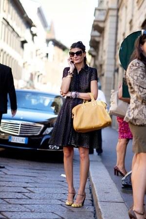 black sunglasses - sheer black dress - mustard bag