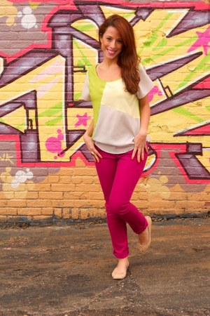 hot pink Forever21 top - Forever21 jeans - Aldo flats
