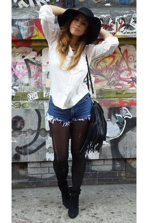 bohemian H&M hat - ankle boots ASH boots - fringe H&M bag