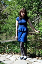blue elle dress - black Kimchi Blue shoes - charcoal gray tights - blue necklace