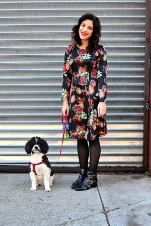 black Design Lab boots - black Frock Shop dress - black Express tights