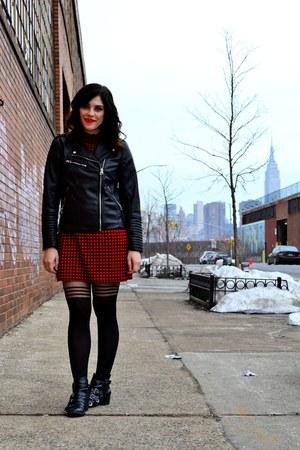 black Design Lab boots - red Zara dress - black H&M jacket - black asos tights