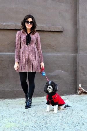 black Design Lab boots - amethyst Zara dress - black Loft tights