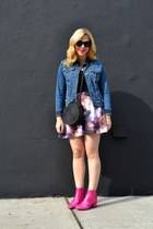 purple Fervour skirt - hot pink asos boots - blue Zara jacket