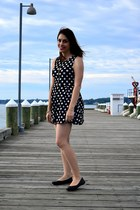 black H&M dress - black Lucky Brand flats - silver vintage bracelet