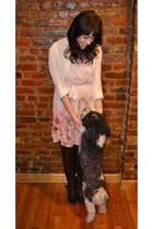 white sweater - dark brown Candies boots - peach LC Lauren Conrad dress