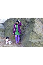 amethyst tights - heather gray BDG shoes - green Ali Ro dress