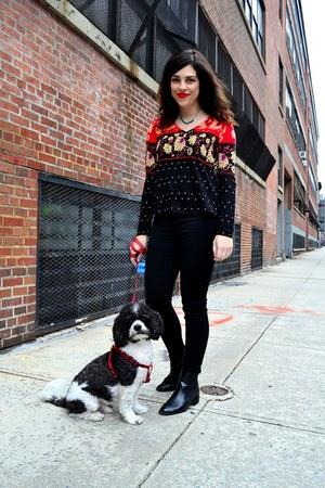 black Zara boots - black Design Lab jeans - red MinkPink top