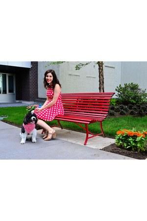red Design Lab dress - tan Anne Klein sandals