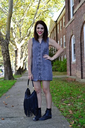 black kensie boots - heather gray H&M dress - black H&M bag