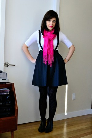 black Silence  Noise boots - black H&M tights - hot pink scarf - white H&M top
