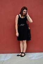black H&M dress - black H&M bag - black belt - black Kimchi Blue flats