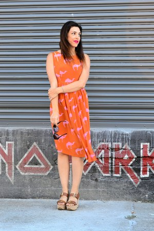 orange Anthropologie dress - black Urban Outfitters sunglasses