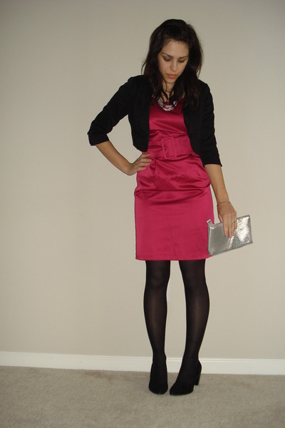 Hot Pink Hm Dresses Black Hm Jackets Black Tights Silver Hm