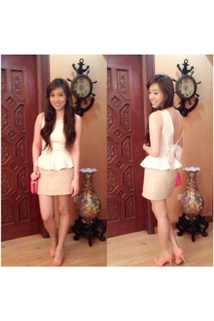 salmon Forever 21 shoes - hot pink Zara bag - white online blouse