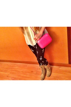 beige Forever 21 boots - black cotton on leggings - white cotton on shirt