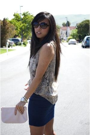 beige michele watch - light pink clutch H&M purse - dark brown dior sunglasses