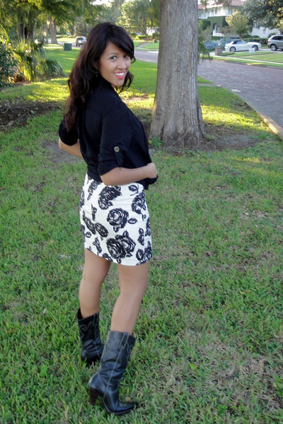 White Flower Print Forever 21 Skirts, Cowboy Boots Dont Remember ...