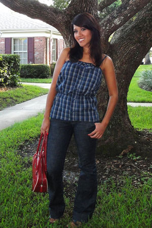 blue Patricia Valery blouse - blue Forever 21 jeans - red Dechoes Prada purse