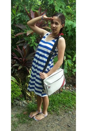 white fila bag - blue blue stipe dress - white clogs