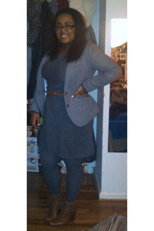 tawny hiking Nine West boots - gray sweater Design Theory dress - heather gray H