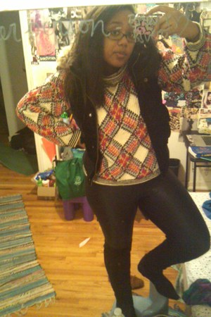 boots - knitted argyle vintage sweater - American Apparel leggings - velvet puff