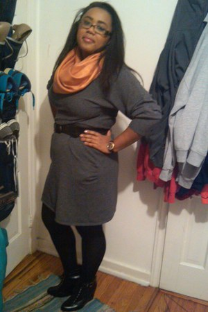 wedges H&M boots - sweater Design History dress - Uniqlo tights - pashmina scarf