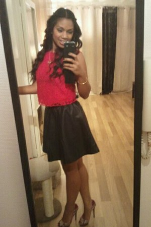 hot pink H&M top - black H&M skirt - bronze Bershka heels