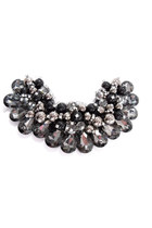 Collar Necklace with Large Gray Crystals and Pearl Beads - Maleficent Inspired
