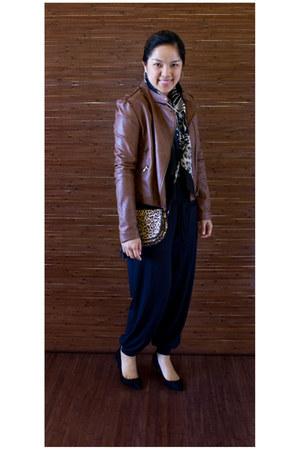 Larioseta scarf - leather jacket Forever 21 jacket - Zara purse