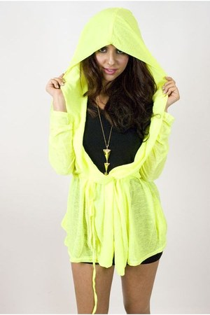 chartreuse sheer hooded jacket