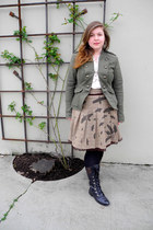 army green military style jacket - black lace up riding aerosoles boots