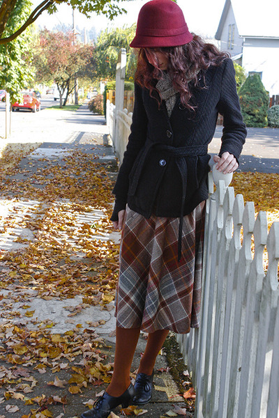 brown skirt - crimson cloche Forever 21 hat - black belted Forever 21 jacket