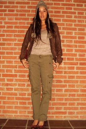 army green Zara pants - brown Farrutx shoes - nude Zara dress - brown Zara jacke