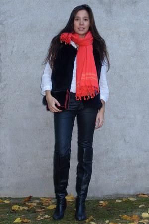 black Zara boots - black Zara pants - white Zara blouse - black Primark vest - b