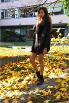 dark brown Zara skirt - black Zara top - navy Zara cardigan - black vintage boot