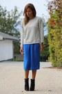 Black-zara-boots-blue-asos-dress-silver-zara-sweater