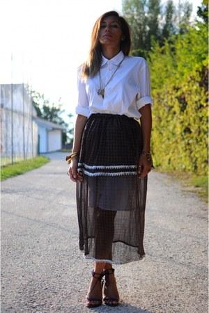 dark gray berber skirt - white kenzo men shirt - purple stephane kelian sandals