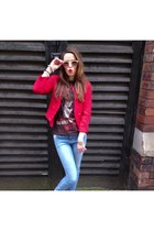 red red blazer Mango blazer - blue new look jeans - bubble gum H&M sunglasses
