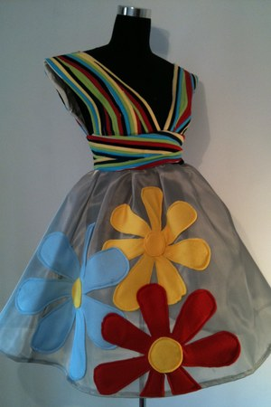 red handmade dress - yellow handmade dress - turquoise blue handmade dress