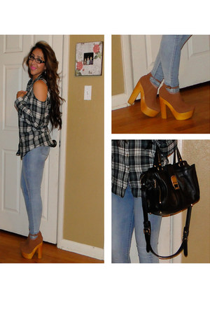 cutout plaid Cutout top blouse - old Jeans jeans - Rebecca Minkoff bag