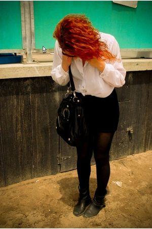 black H&M skirt - white vintage blouse - black Hype