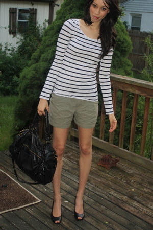 white H&M shirt - black deux lux bag - olive green thrifted shorts - black Impo