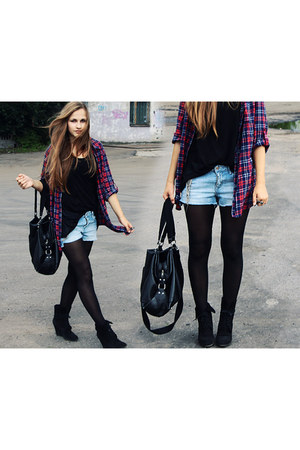 black H&M bag - crimson H&M shirt - black Zara wedges