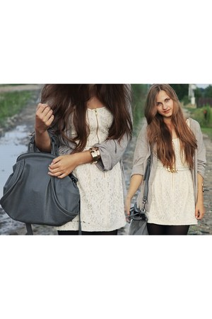 eggshell H&M dress - heather gray Zara bag