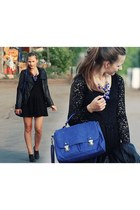 H&M dress - black leather Zara jacket - deep purple asos bag