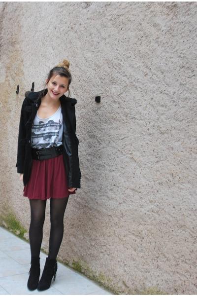asos skirt - Minelli boots - asos coat - H&M t-shirt