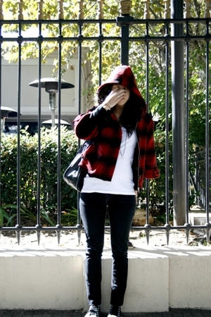Victorias Secret coat - BDG jeans - Converse shoes - Forever21 t-shirt