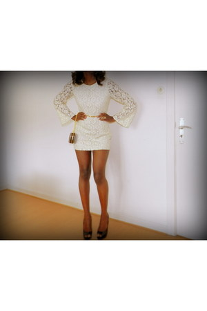 cream lace H&M dress - black peep toe Zara shoes - gold H&M belt